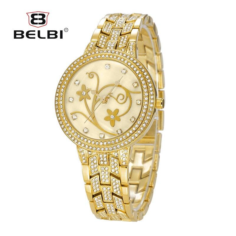 Flower Dial Design Women Clock Fashion Quartz Battery Dress Women Watches Alloy Diamond Watch-case Top Luxury Brand Watch BELBI стоимость