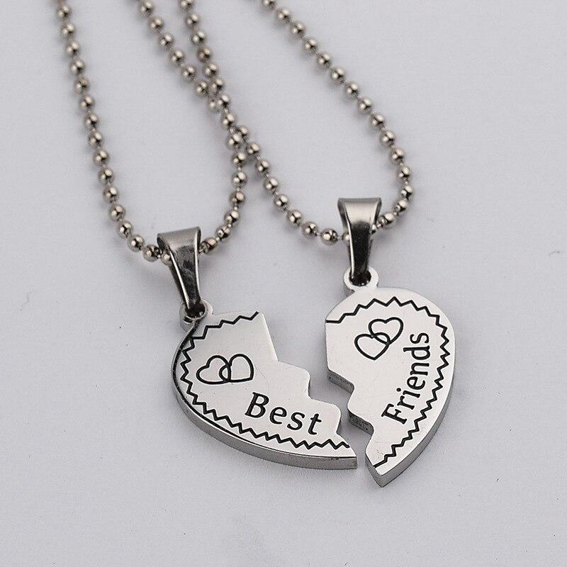 Children Best Friends Engraved Letter Heart Pendant BFF 2 ...