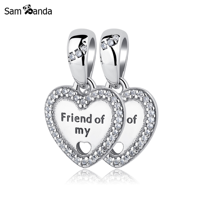 A pair authentic 925 sterling silver charm bead friend of my heart a pair authentic 925 sterling silver charm bead friend of my heart charms pendants fits pandora aloadofball Image collections