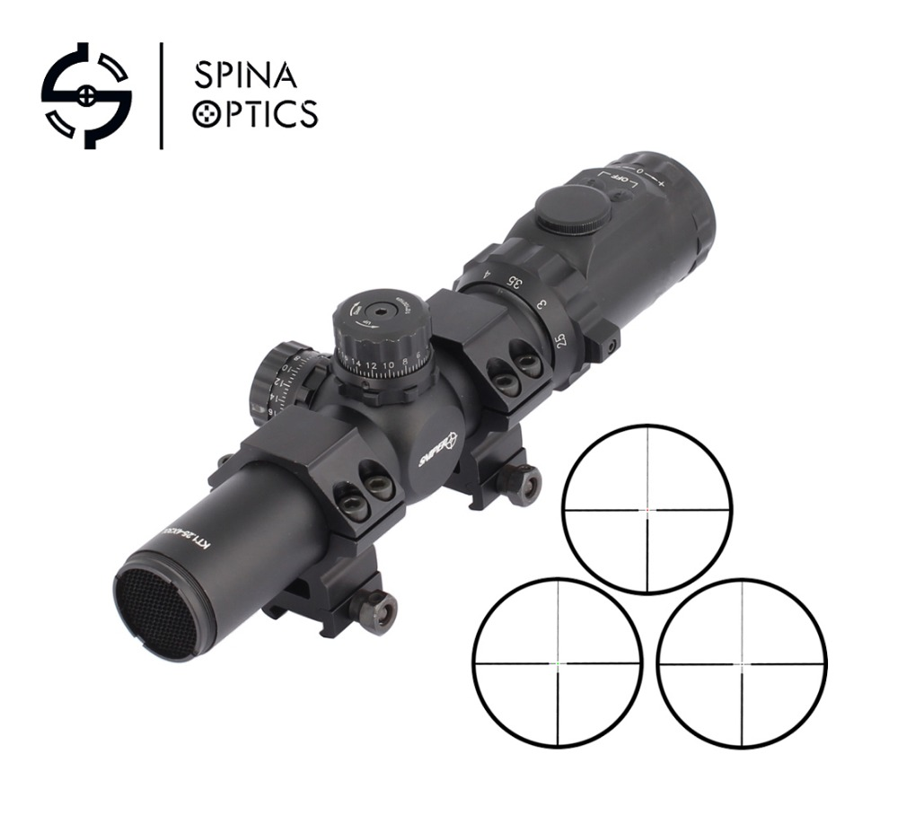 SPINA OPTICS Hot Sell Hunting Tactical Riflescope 1.25-4x30 Rifle scopes Sniper Scope Optic Sight Red/Green Illuminated compact m7 4x30 rifle scope red green mil dot reticle with side attached red laser sight tactical optics scopes riflescope