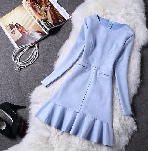 Velvet Ruffle A Line Women Dress Elegant Full Sleeve Slim Ladies Dresses Korean Style Work School Femme Vestidos Z596