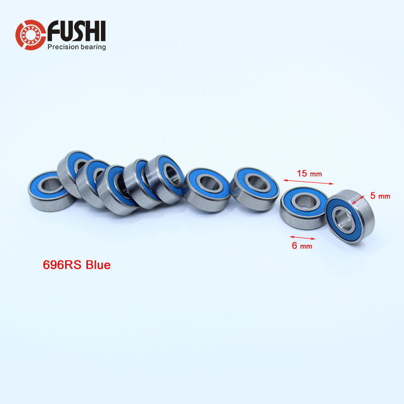 696RS Bearing ABEC-3 (10PCS) 6*15*5 mm Miniature 696-2RS Ball Bearings RS 696 2RS With Blue Sealed R-1560DD free shipping 4pcs 13x19x4 blue rubber bearings abec 3 mr1913 2rs