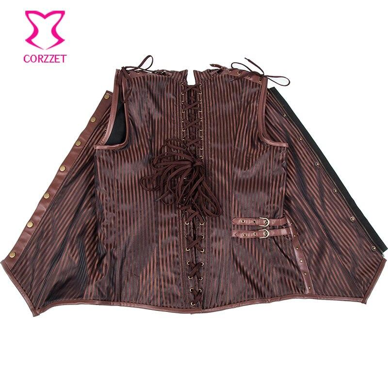 Braun gestreiften Stehkragen ärmellosen Reißverschluss Vintage - Herrenbekleidung - Foto 5