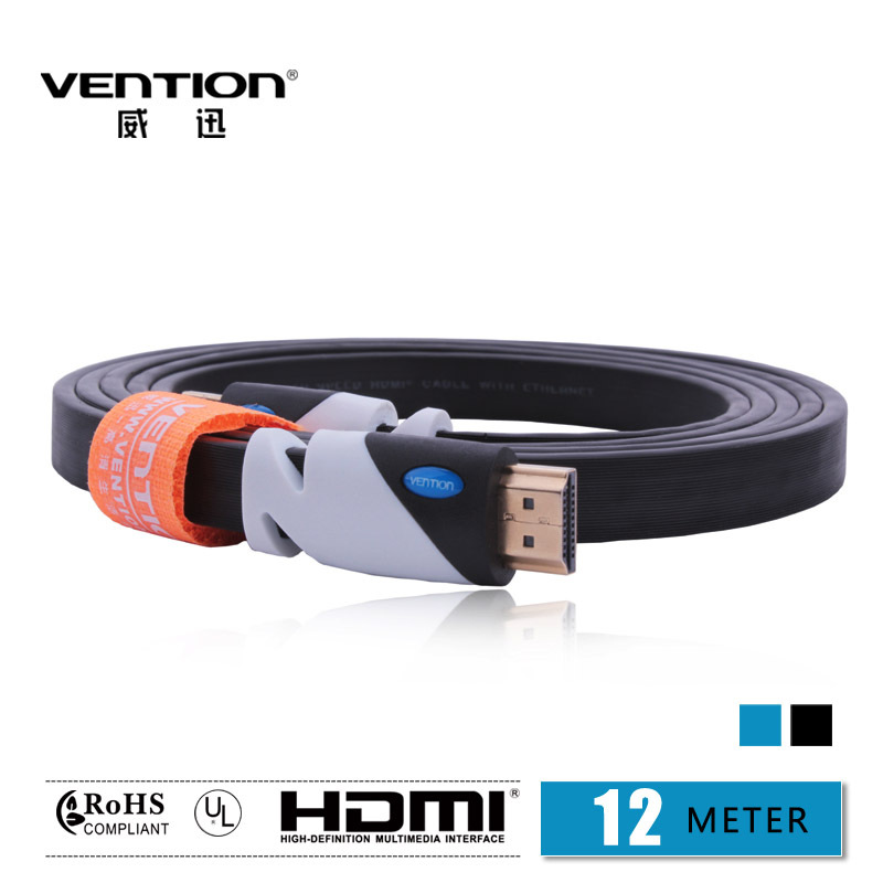 VENTION!Black Color HDMI Cable 12M Gold Plated Connection V1.4 HD 1080P TV Cable Computer cables Free Shipping