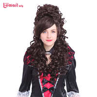 L email wig 32inch 80cm Long Cosplay Wigs 6 Colors Curly Black Beige Pink Synthetic Hair Perucas Cosplay Wig