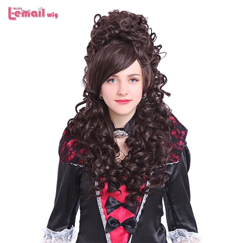 L-email wig 32inch 80cm Lång Cosplay Paryk 6 Färger Curly Black Beige Rosa Syntetisk Hår Perucas Cosplay Paryk