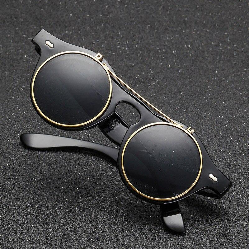 HJYBBSN Steampunk Sunglasses Men Luxury Brand Designer Double Flip Lens Retro Round Sun Glasses Vintage Mechanical Oculos De Sol
