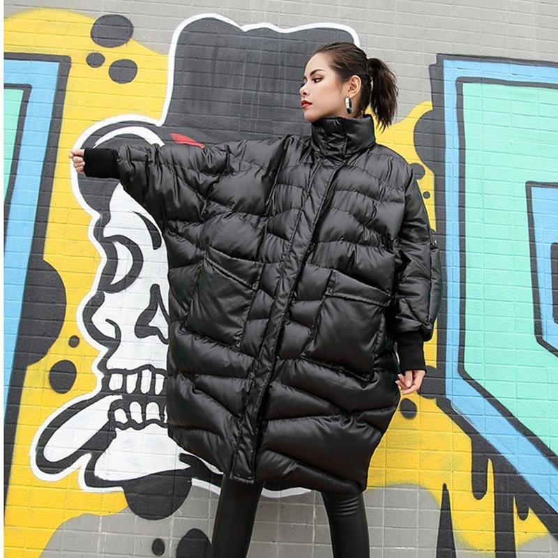Longues 2019 Coton Black Femmes Col rembourré Manteau Grande Montant Nouveau À Chaud Lâche Mode Ji520 Printemps eam Garder Manches Au Noir Taille x0Zwpdpq1
