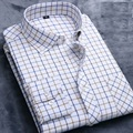 2016 new Brand men casual oxford shirt solid and plaid men fashion cotton shirts turn down collar men shirts
