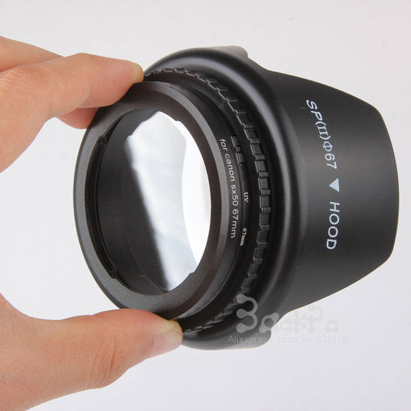 Camera Lens Adapter Ring SX50 HS SX60 HS to 67mm + lens cap + lens hood + UV Filter 67mm For SX50 HS 4in1 Kit Accessories premium uv camera lens filter 67mm