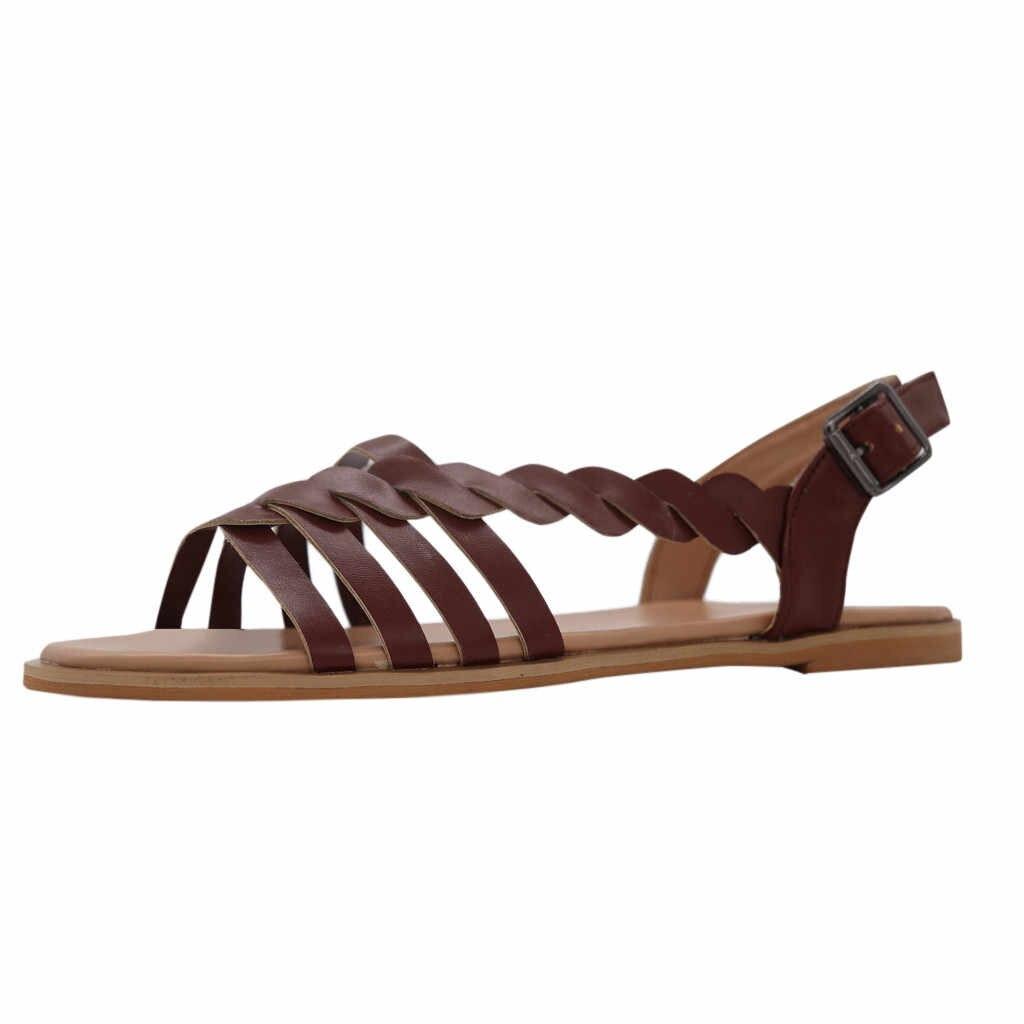 รองเท้าแตะแบนรองเท้าสุภาพสตรีรองเท้าข้ามสายข้อเท้า Buckle Braided Cushioned รองเท้าแตะรองเท้าแตะโรมันรองเท้าแตะผู้หญิงรองเท้าแบน