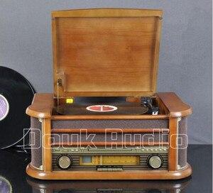 Image 3 - Nobsound Hi end Stereo Turntable LP Vinyl Record Player Tape&CD&U disk&AM/FM Radio&AUX&USB Audio 220V