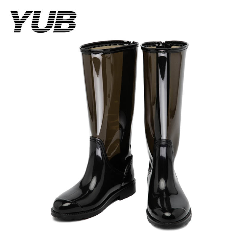 YUB Brand Mid Calf Rain Boots for Women with Transparent Fashion Design Size 6.5-10 yub brand waterproof rain boots for women with solid color slip on winter mid calf shoes for girls