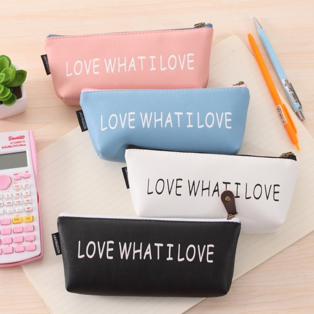 91817214d5 Small Fresh school pencil case for girls Kawaii PU leather pen pouch  Storage bags Korean stationery office school supplies