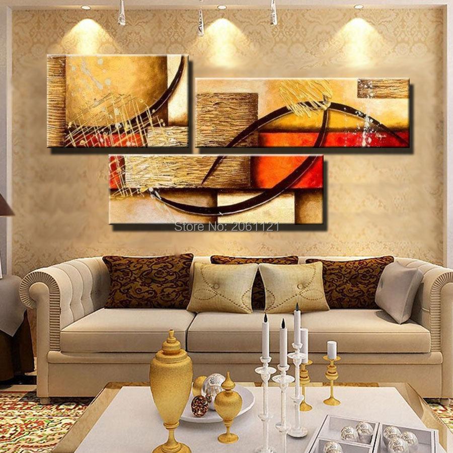 Дешевые холст ЖЕЛТЫЙ 3 панели современная абстрактная живопись маслом на холсте ручная роспись стены искусства ГЛАВНАЯ УКРАШЕНИЕ КАРТИНЫ 2P28