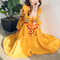 Loose Vintage Women Tunic V-neck Cotton Embroidery Long Dress Ethnic Long Sleeve Maxi Dress Oversize