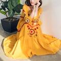 Loose Vintage Women Tunic V-neck Cotton Embroidery Long Dress Ethnic Long Sleeve Maxi Dress Oversize