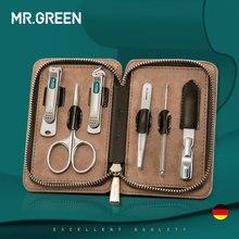 מר. ירוק 6 ב 1 נייל קליפר ערכת עם מקרה טיפול סט פדיקור חותכי מספריים פינצטה סכין מקצועי מניקור סט כלים