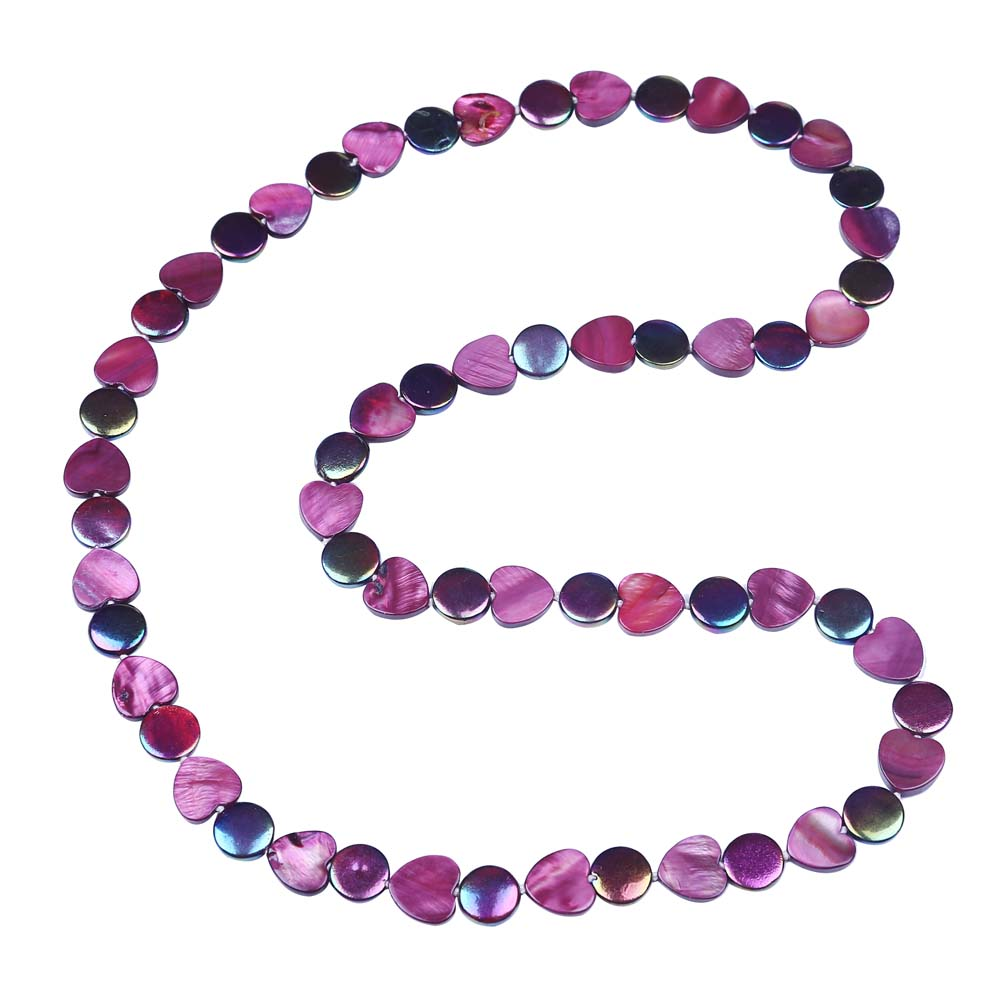 Free Shipping Long Summer Style Oblate Rectangle Oval Hollow Shape Shell Beads Purple Long Necklace