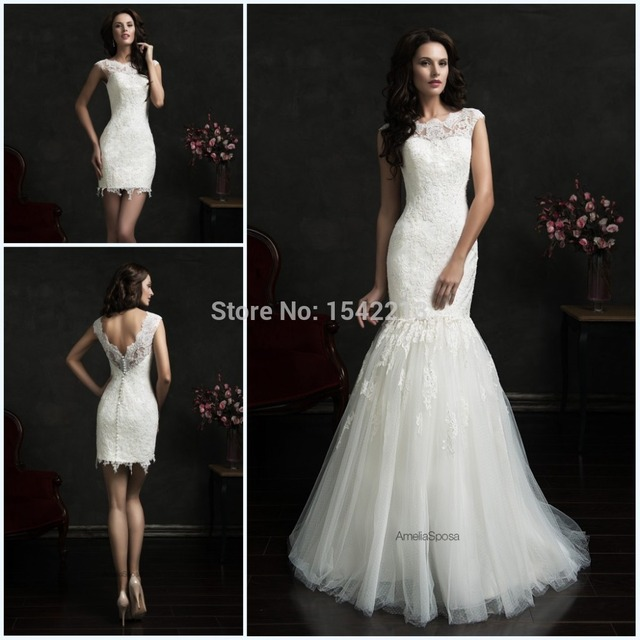 Hot Two In One Wedding Dresses Cap Sleeve Y Mermaid Bridal Gowns High Low