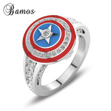 Bamos Captain America Shield Finger Ring Luxury Zircon Star Ring Fashi