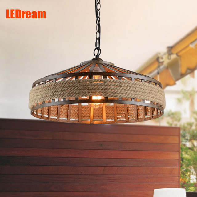 American rural industrial restaurant cafe retro creative living room lamp rural hemp rope chandelier