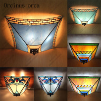 Mediterranean retro stained glass ceiling lamp living room balcony corridor European creative painting LED ceiling lamp