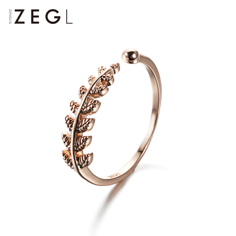 ZEGL Silver Feather Ring Love Womans Jewelry 18k Rose Gold