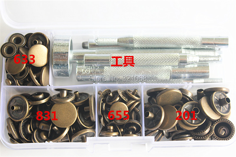 10mm 12mm 15mm metall Snap Fastener Press Studknappar Poppers Leather Craft + Fixings Tools Kit