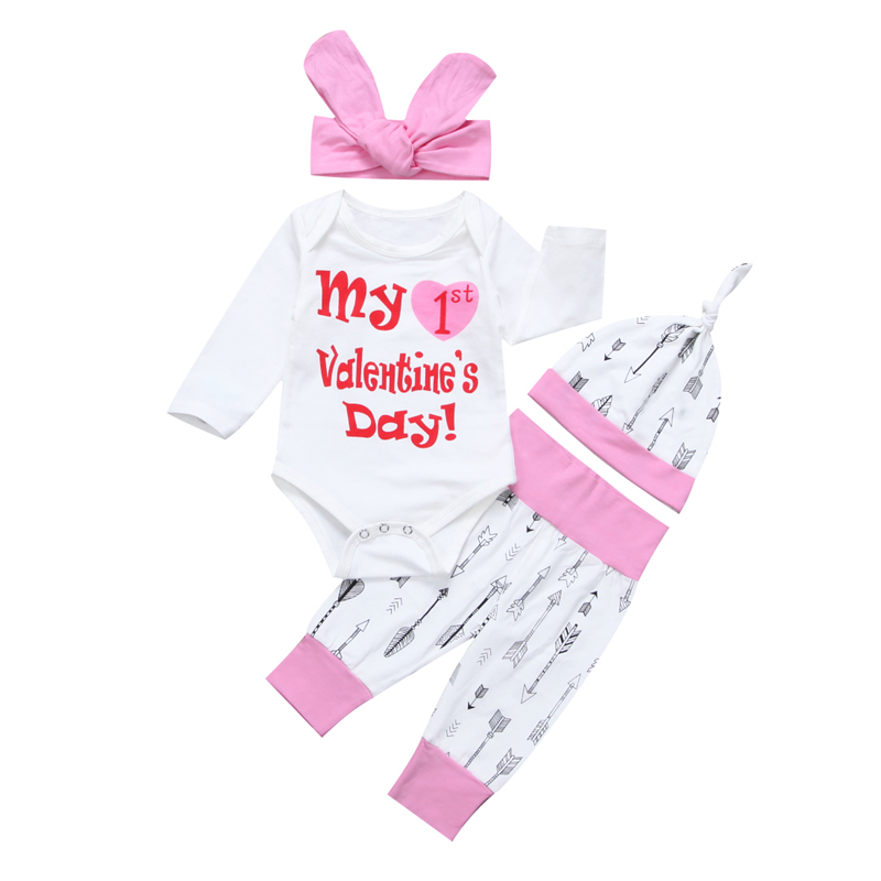 4PCs Set Baby Girl Clothes Newborn Baby Girls Letter Long Sleeve Romper+Pants+Hat 2017 New Fall Bebes Outfits Girl Clothing Sets