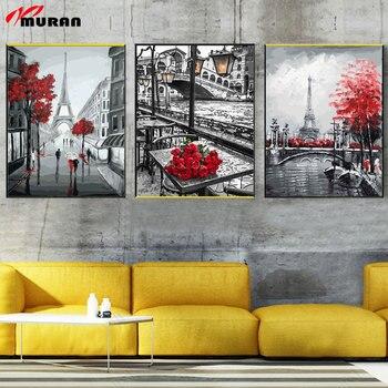 MURAN レッドローズウォールステッカーアート数字手仕事キャンバス油絵家の装飾リビングルーム