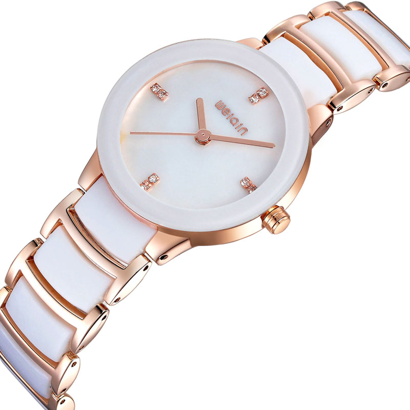 WEIQIN Luxury Brand Dress Watches Women Crystal Rhinestone Rose Gold Watch Lady Fashion Bracelet Wristwatch Relogio Feminino weiqin new 100% ceramic watches women clock dress wristwatch lady quartz watch waterproof diamond gold watches luxury brand