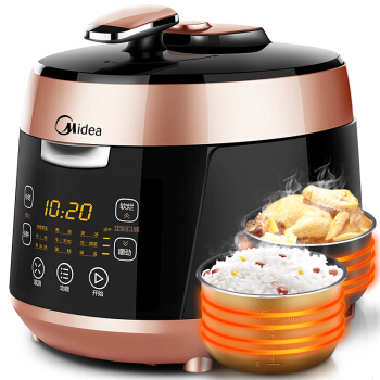 Smart Electric Pressure Rice Cooker with 2 Pots Home 5L 24h Reservation Black Grain Rice Cooker LCD Display Non-stick