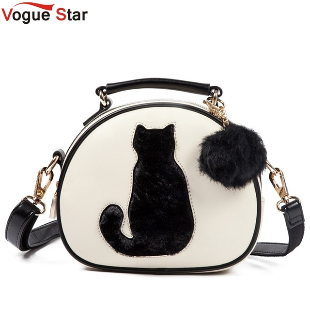 Vogue Star 2018 Cat Printing Bag Las Crossbody Bags Circle Women Leather Handbags With Fur Ball