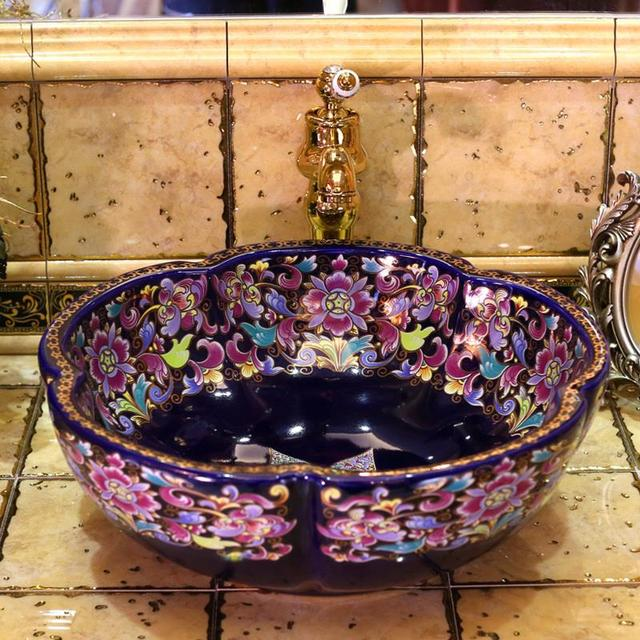 Ceramic Art Basin Sinks Europe Vintage Style Counter Top Wash  Bathroom Vessel Vanities Bathroom Sink Bowls On Top Of Vanity L32
