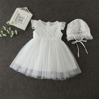 High Quality Baby Girls Newborn Dress For Christening 1 Year Infant Toddler Baby Birthday Dress Ruffles