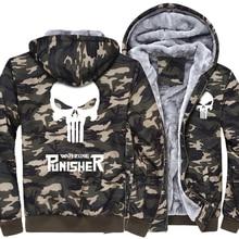 2017 the punisher Armee Ggreen Camouflage casual marke streetwear dicke jacke männer lustige hoodies homme schädel trainingsanzug mantel MMA