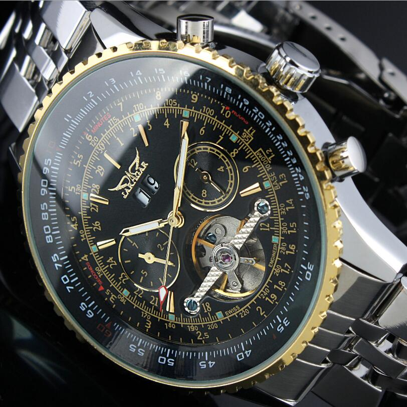 JARAGAR Automatic Watch Mens Day Flywheel Auto Mechanical Stell Band Wristwatch reloj hombre jaragar fashion watch mens moonphase flywheel auto mechanical stell wristwatch gift box free ship