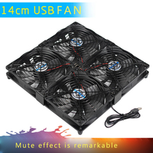 Multi-fan combination 140mm fan with grill, silicone pad, 5V USB silent cooling fan for Mini PC/PS4 / PS3 / Xbox/ router
