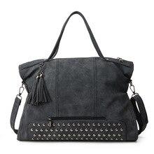 2016 frühjahr Große Kapazität Nietbeutel Quaste Handtasche Bolsas Vintage Frauen handtasche Große Tasche Nubukleder Handtasche Umhängetasche für frauen