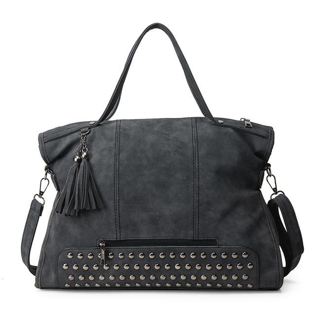 4c8b91f3a2f4 US $28.72 20% OFF 2018 Spring Large Capacity Rivet Bag Tassel Handbag  Bolsas Vintage Women's Handbag Big Bag Nubuck Purse Messenger Bag for  Women-in ...
