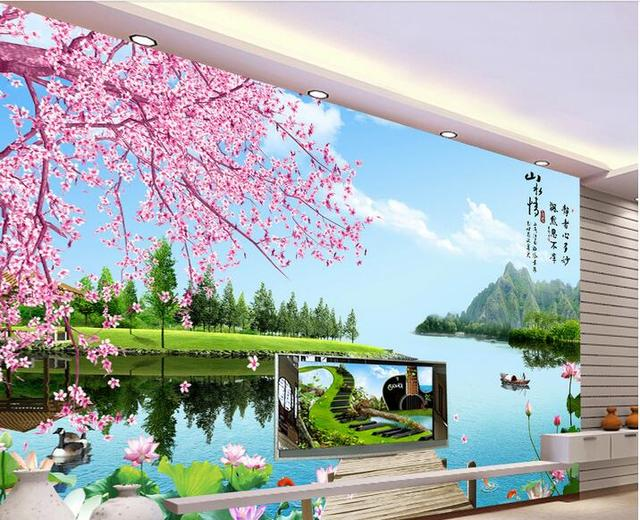 custom photo 3d wallpaper non woven mural wall sticker love for