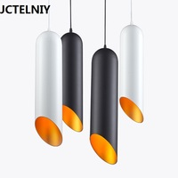 Modern brief restaurant pendant light black cylindrical cylinder bar counter lamps single head