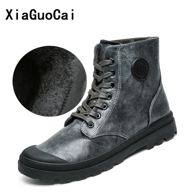 XiaGuoCai 2017 Autumn Men Casual Shoes Man Boots Pu Leather Lace Up Warm Winter Working Boots Breathable Fur Men's Winter Boots xiaguocai new arrival real leather casual shoes men boots with fur warm men winter shoes fashion lace up flats ankle boots h599