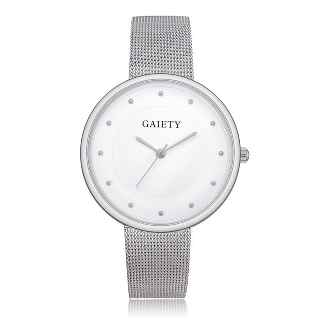 Fashion Men Women Quartz Stainless Steel Mesh Band Watch Studs Design Analog All