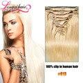 Blanco # clip en extensiones de cabello humano 8 unids completo head100 % brasileño virginal del pelo clip en la extensión del pelo remy