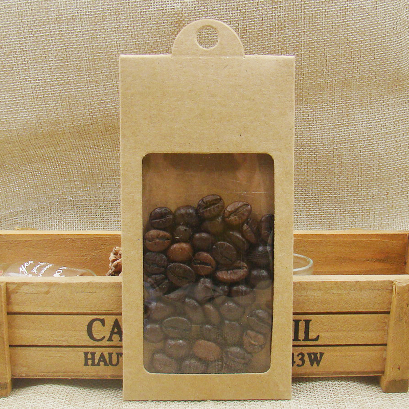 50PCSnew Kraft Paper Gift Window Box With Hanger Candy Favor Storage Hanger Box For Cookies/dry Fruit/coffe Beads/wedding Gifts