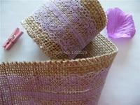 Free Shipping W6cm x 2m L/roll Romantic Rustic Wedding Violet Lace Natural Burlap Ribbon DIY Hessian Lace Jute Roll Ribbons