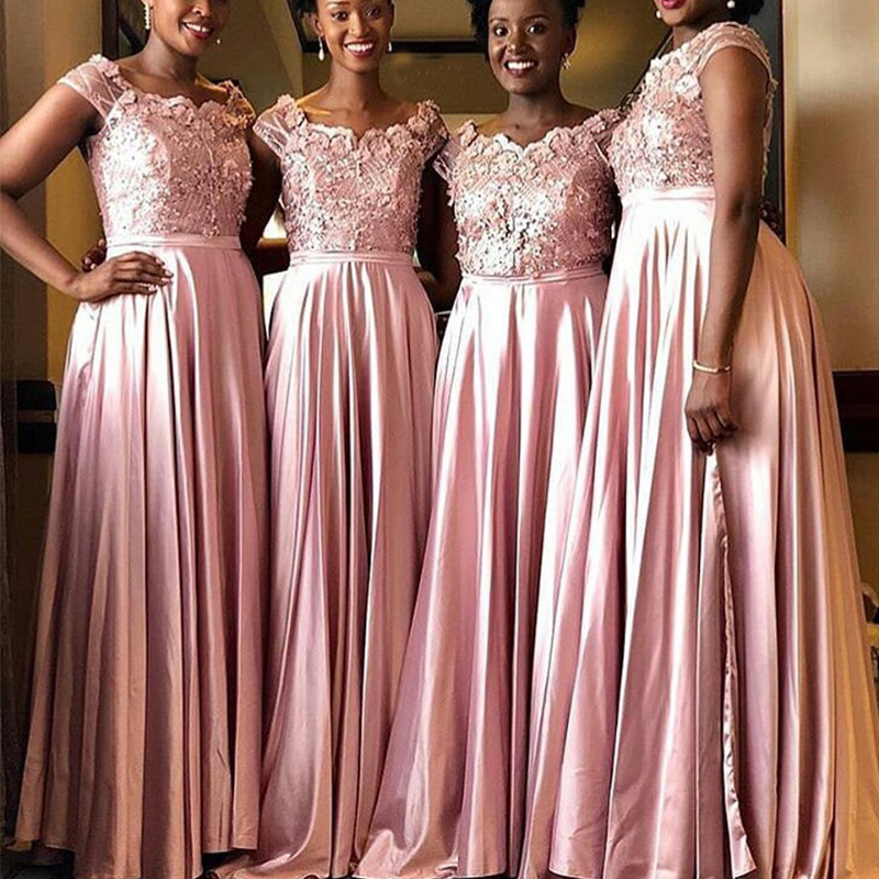 Blush Pink African Bridesmaid Dress 3D Appliques Beaded Elastic Satin Long Robe De Soiree Cap Sleeles Maid Of Honor Party Dress