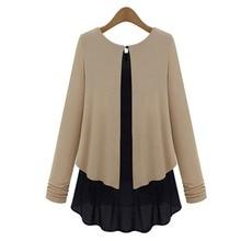 Fake Two Piece Stitching Blouses Chiffon Shirts Bottoming Shirt Sweater Long sleeved Women's Clothing